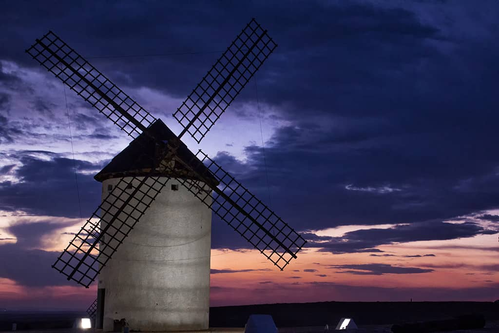 Windmill at sunset in La Mancha